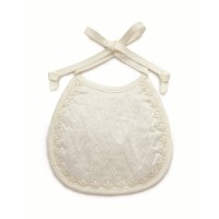 Little Darlings Ivory Silk Bib With Embroidery