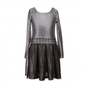 Bonnie Jean Girls Silver Glitter Texture Waistband Dress