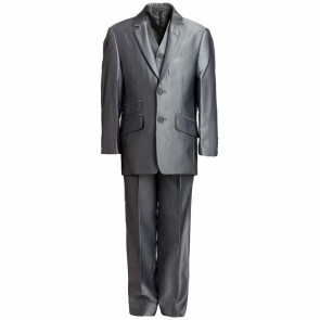 Romano Boys Grey Herringbone Suit