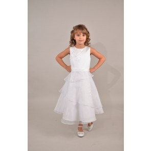 Sweetie Pie Embroidered Satin & Organza First Communion / Flower Girl Dress