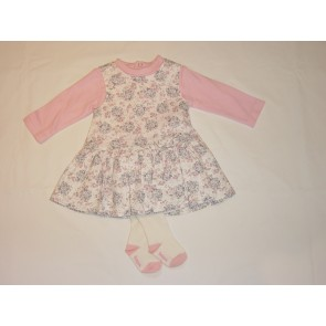 Babybol Floral Pinafore Dress,Top and Tights Set