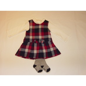 Babybol - Red and Navy Check dress with pink top and tights set