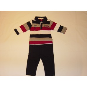 Babybol Multi Striped Poloshirt and Navy Trouser Set