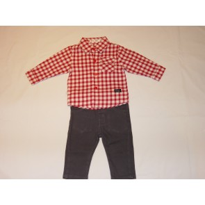 Babybol Red Check Shirt and Navy Trouser Set