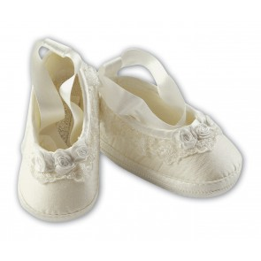 Sarah Louise Satin Girls Christening Shoes