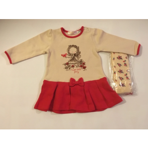Babybol Dress with Floral Tights Set