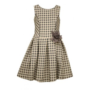 Bonnie Jean Black and White Jacquard Drop Waist Dress