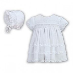 Sarah Louise Hand Smocked Christening Dress & Bonnet