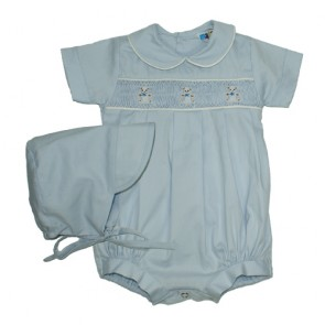 Blue Teddies Embroidery Shortall with Bonnet by Mafana Kids