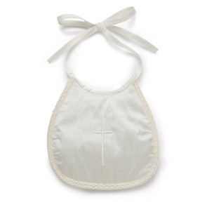 Little Darlings White Silk Cross Embroidered Bib