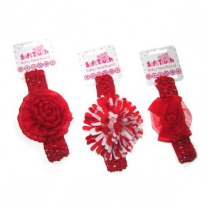 Fabulous Red Baby Headbands by Soft Touch