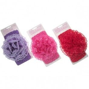 Large Crochet Headband with Lace Flower & Dotty Satin inner by Soft Touch