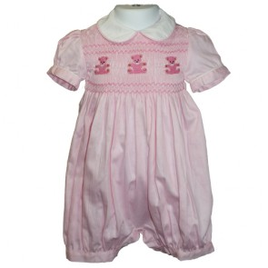 Bubble Pink Teddies Embroidery Shortall by Mafana Kids