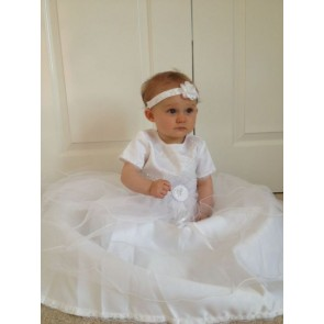 Little People Christening Dress and Headband Set