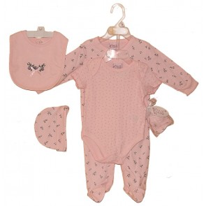 Baby Girls Five Piece Cotton Bodysuit Set