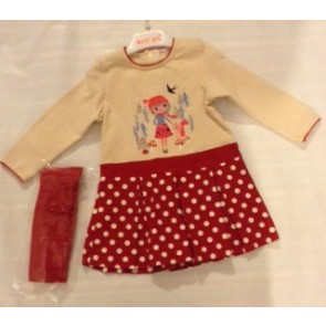 Babybol Beige and Red Dress and Tights Set