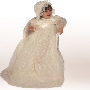 Little Darlings GABRIELLA Silk Nottingham Lace Christening Gown and Bonnet Set
