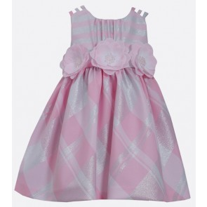 Bonnie Jean Pink Plaid & Rosette Lurex Dress
