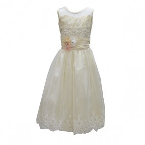 Girls Sleeveless Laced Beaded Frilly Dress